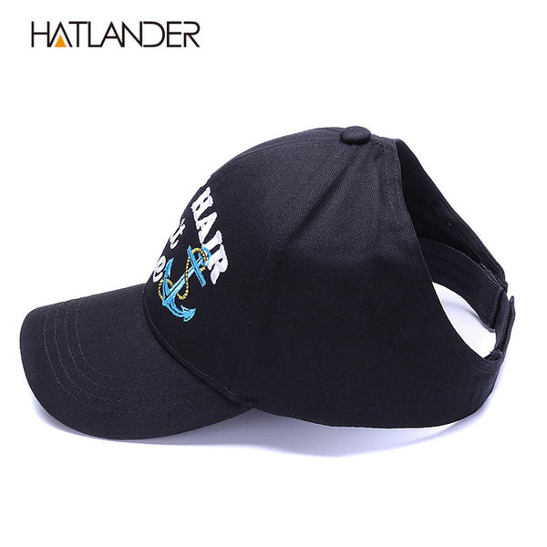 HATLANDER Ponytail cotton baseball caps for women sports hats girls visor sun hat tennis cap adjustable empty top messy bun hat