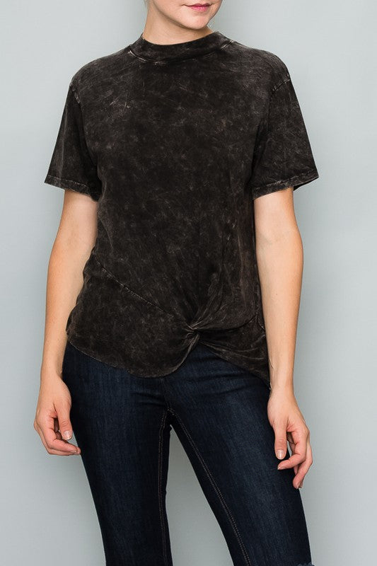 Black, mineral washed, t-shirt with faux side knot