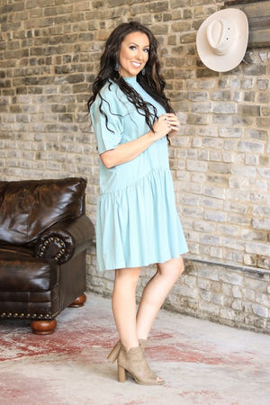 Mint Green Pleated T-Shirt Dress