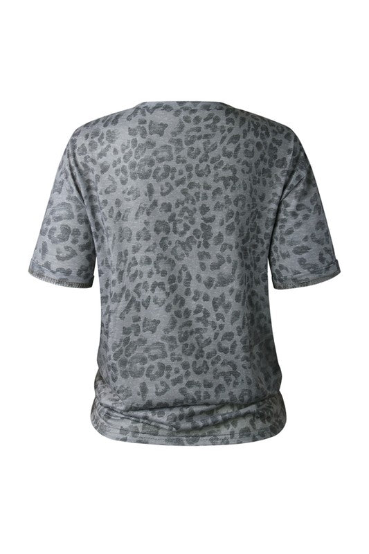 Gray Leopard Athleisure T-Shirt