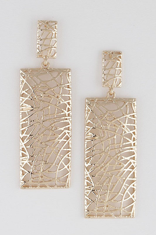 Gold Rectangular Abstract Earrings