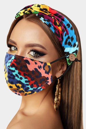 Leopard Print Fashion Mask & Headband Set