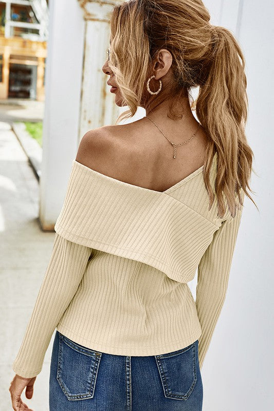 V-Neckline Off Shoulder Casual Top