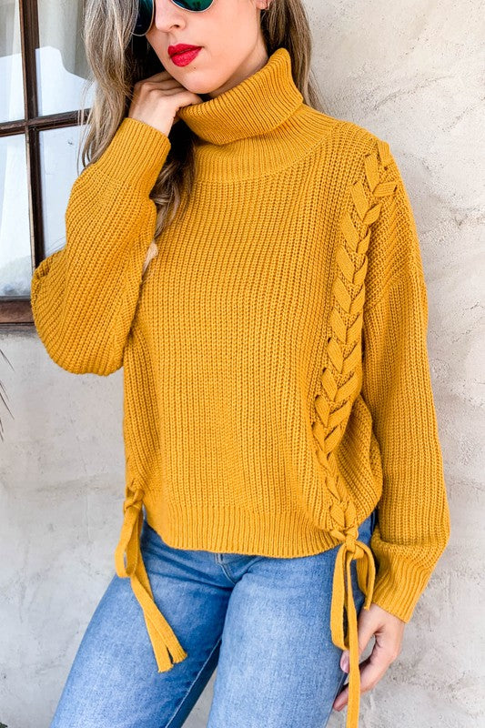 Lacy Turtleneck Sweater