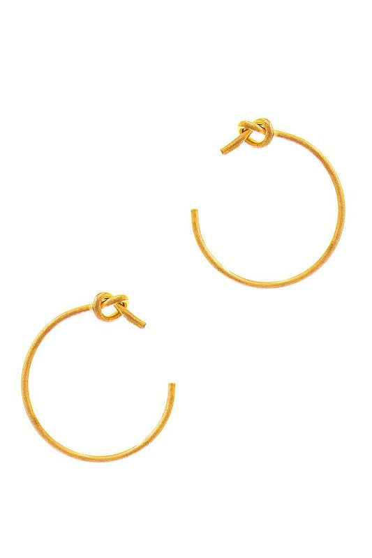 Gold Knot Open Hoop Earrings