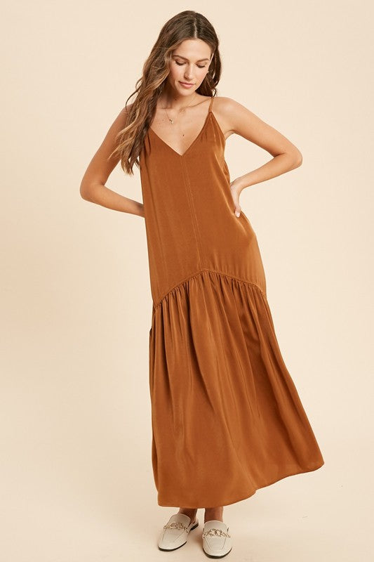Satin Cognac Maxi Dress