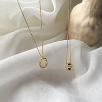 Gold plated 925 sterling silver irregular geometric oval charm Necklace simple clavicle chain