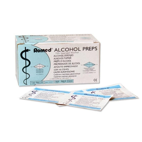 Romed Alcohol Swabs 65x30mm x 100 (100 Swabs x 1 Box) - The Acupuncture Supply Co
