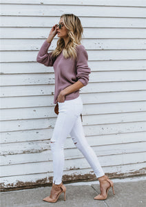 Knotted Back Pullover Sweater