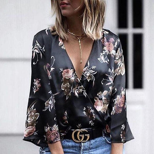 Loose Long Sleeve Floral Print Blouse