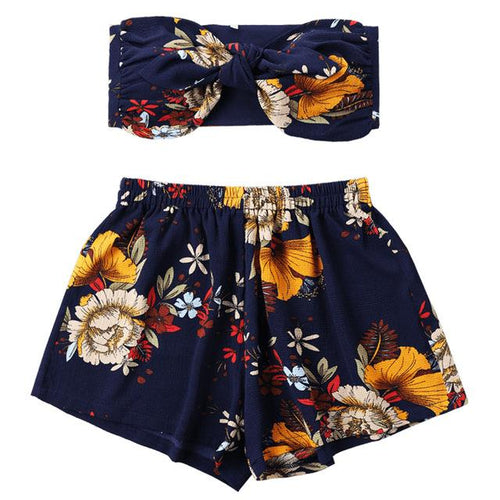 Flower Printed Mini Tube Top and Shorts Summer Set
