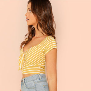 Ribbon Knit Striped Crop Top