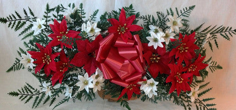 Artificial flower arrangements for cemeteries page 2 christmas headstone spray with silk poinsettias 30 inch this economical headstone spray is priced at only 3495 including the saddle mightylinksfo
