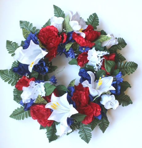 GSF Premium Exclusive - 18 inch Wreath Red, White, and Blue Flower Mix