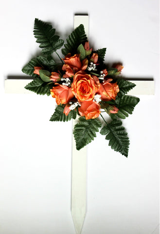 GSF'S Premium Exclusive- Orange Fall Mix Wood Cross