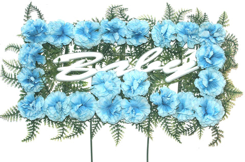 Baby Pillow - Blue Carnations - 18 inch