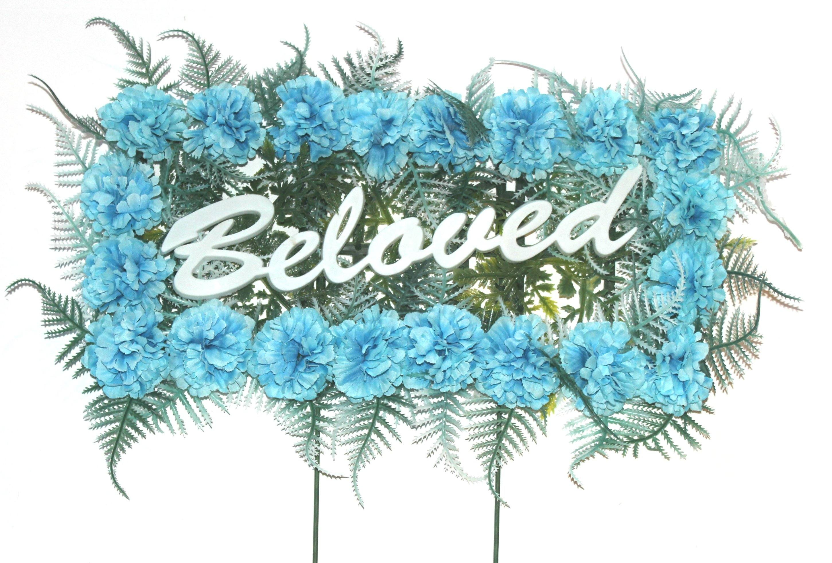 Beloved Pillow With Blue Silk Flowers 18 Inches