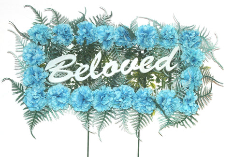 Beloved Pillow with Blue Silk Flowers - 18 Inches