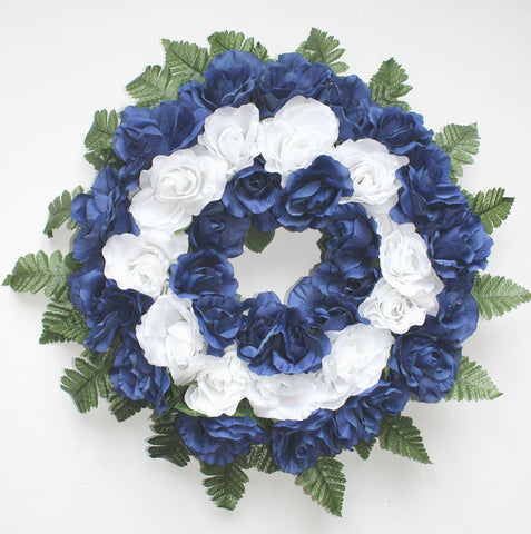 GSF Premium Exclusive - 14 inch Wreath with Blue and White Roses