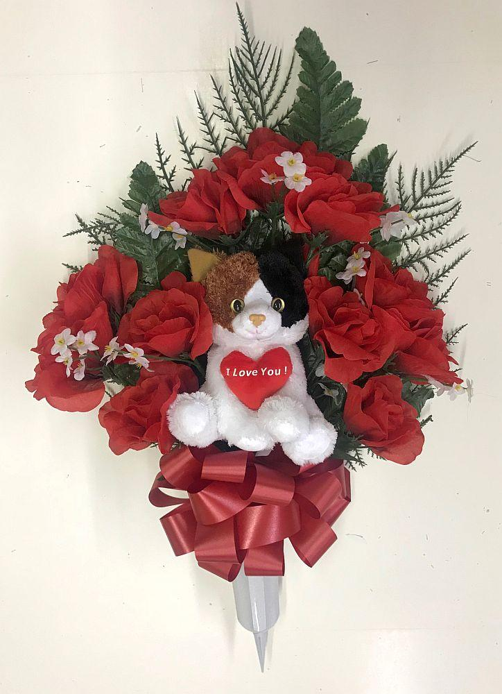 Plush Cat Memorial Flower Vase Red