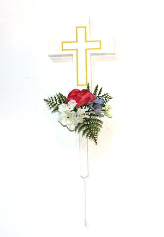 Cross Memorial with Fuchsia Ranunculus