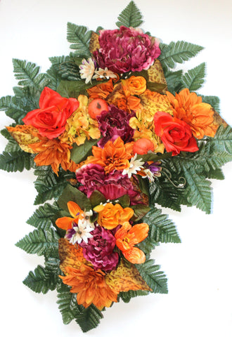GSF'S Premium Exclusive-Roses, hydrangeas, Fall Mix 24 inch Tall Cross