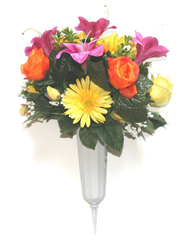 GSF's Premium Exclusive -  Rose/Lily/Gerbera Full Vase - Pink/Orange/Yellow Mix