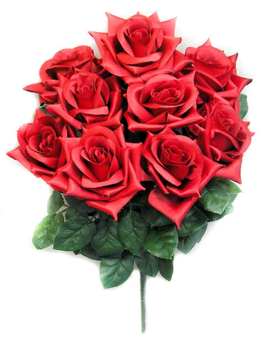 Premium 9 Very Full Rose Flowers Red Bush