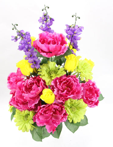 Premium Rose Peony and Daisy Fuchsia, Yellow, and Lavender Silk Bush