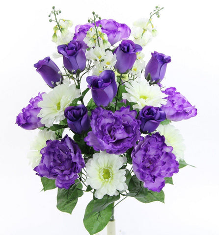 Premium Rose Peony and Daisy Purple /White Silk Bush