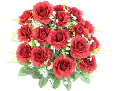 Premium 18 Red Roses with Babies Breath Silk Bush