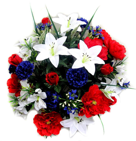 Peony, Lily, Rose, and Carnation Patriotic Mixed Bush
