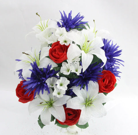 Peony, Lily, and Rose Patriotic Mixed Bush