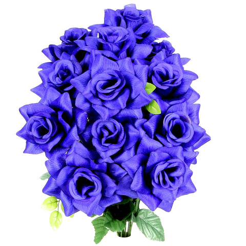 Premium 9 Very Full Rose Flowers Blue Bush