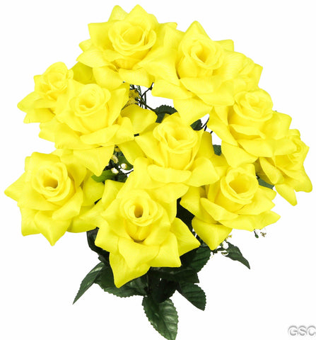 Premium 9 Very Full Rose Flowers Yellow Bush