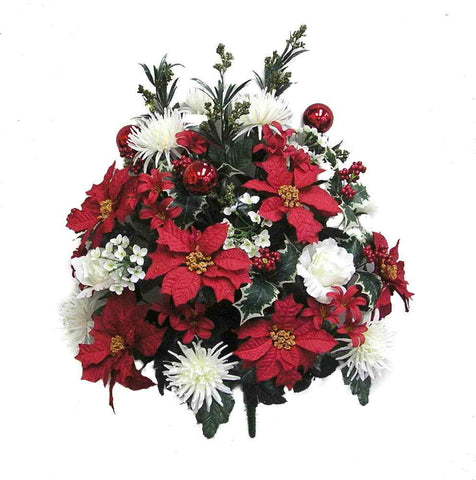 Poinsettia, Peonies, and Red Xmas Ornament Mixed Bush