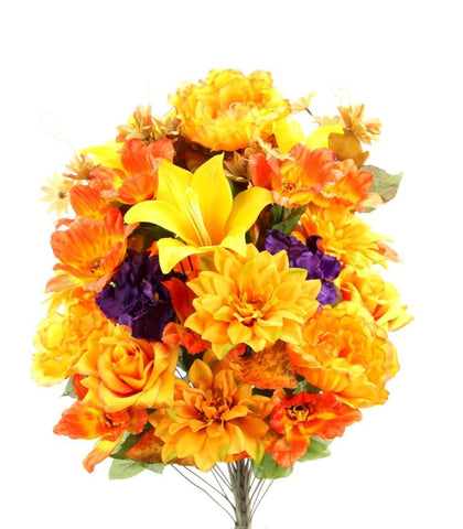 Premium Peony Rose and Lily Orange Fall Mixed Bush