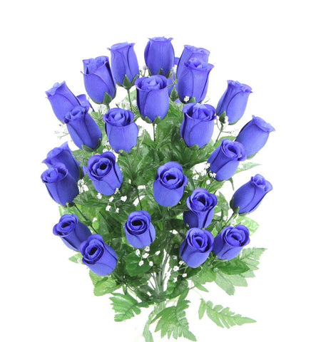 Premium Blue Silk Rosebud Bush - 5 Colors Available