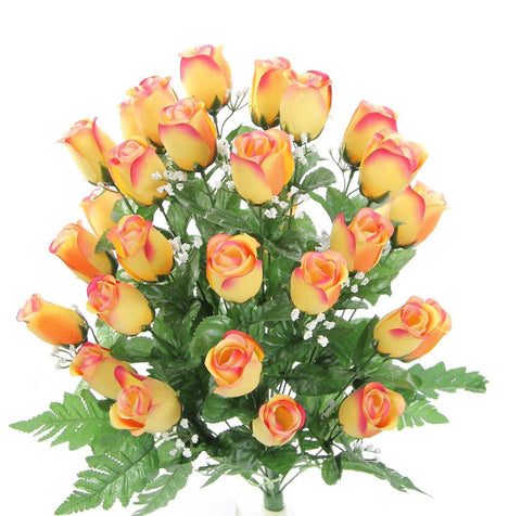 Premium Bright Tip yellow Silk Rosebud Bush