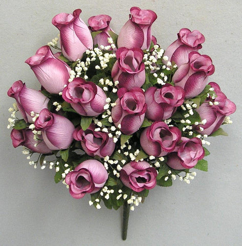 Premium Mauve Silk Rosebud Bush - 5 Colors Available
