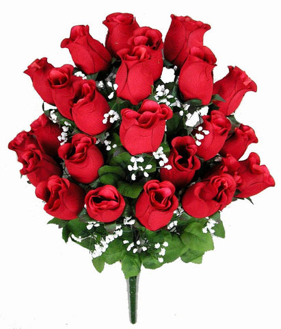 RED Premium Silk Rosebud Bush - 6 Colors Available