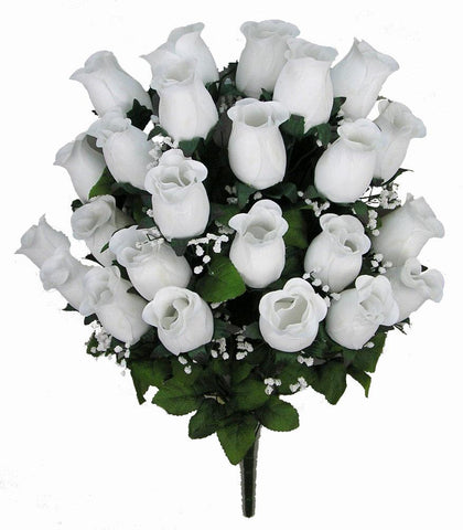 Premium White Silk Rosebud Bush