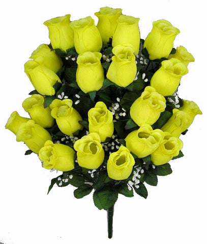 Premium Yellow Silk Rosebud Bush