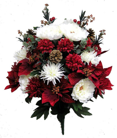 Poinsettia, Peonies, and Pine Cone Xmas Mixed Bush