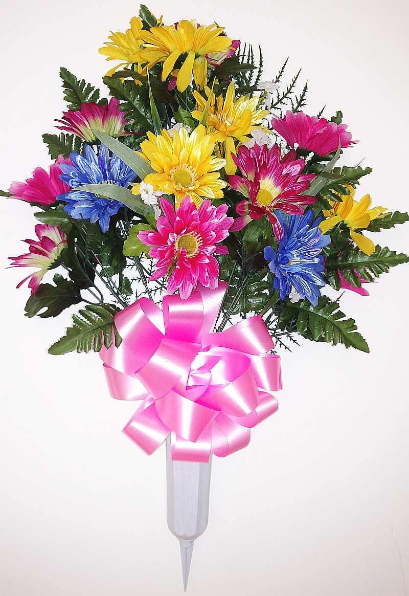 Gerber Daisy Cemetery Vase Fuchsia Blue Pink Yellow 27 Inch