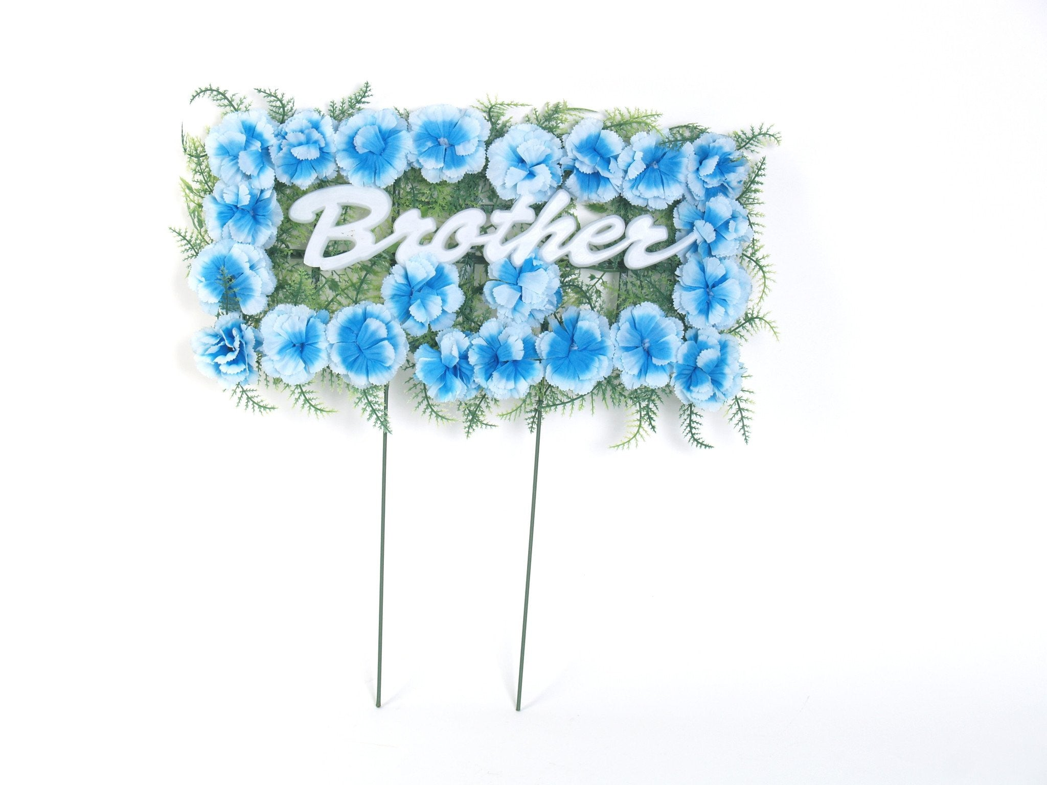 Brother pillow arrangement with blue silk flowers 18 inches brother grave pillow izmirmasajfo