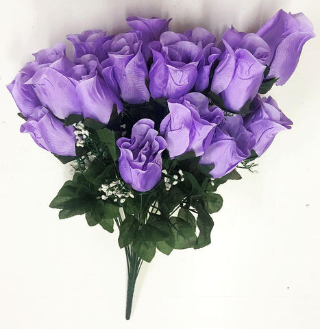 Premium Violet Red Silk Rosebud Bush - 5 Colors Available