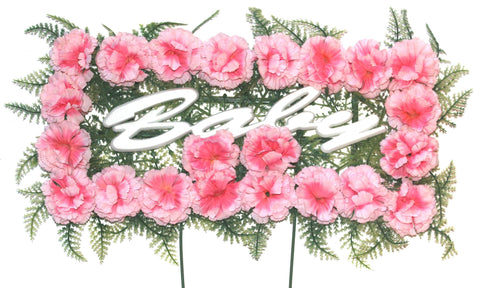 Baby Pillow - Pink Carnations - 18 inch