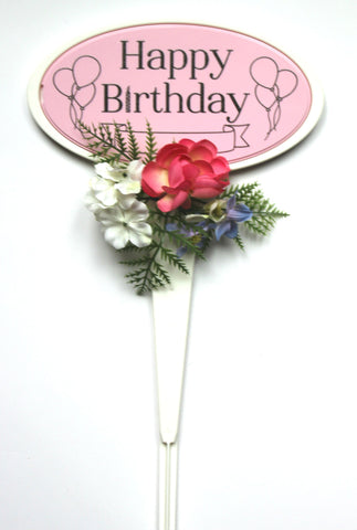 Pink Happy Birthday Stand with Accented Flowers- 18 inch Tall
