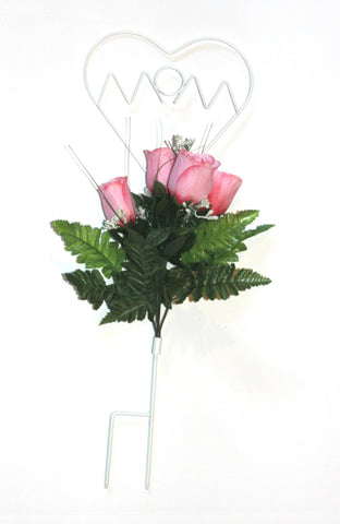 Mom Wire Stand with Pink Roses